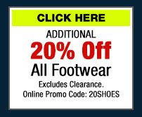 20% Off All Footwear (click) here for Your Coupon